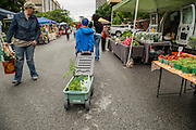 Ricky Qedan, 9, of Fayetteville, pulls a wagon through the Farmer's Market in Fayetteville on Saturday, May 17, 2014, in Fayetteville, Ark. Photo by Beth Hall