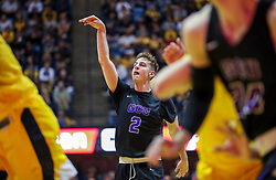 Mar 20, 2019; Morgantown, WV, USA; Grand Canyon Antelopes guard Trey Drechsel (2) shoots during the first half against the West Virginia Mountaineers at WVU Coliseum. Mandatory Credit: Ben Queen