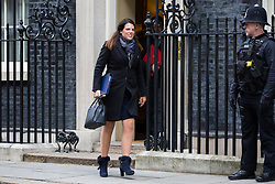 London, UK. 29th January, 2019. Caroline Nokes MP, Secretary of State for Immigration, leaves 10 Downing Street following a Cabinet meeting on the day of votes in the House of Commons on amendments to Prime Minister Theresa May's final Brexit withdrawal agreement which could determine the content of the next stage of negotiations with the European Union.