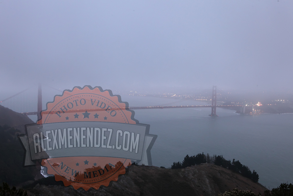 A general overview of the fog blowing in over the Golden Gate Bridge from the Marin Headlands in San Francisco, California on Monday, Oct. 24,2011. The Golden Gate Bridge is undergoing a re-painting of the main support cables for the first time in 75 years and is expected to be completed by 2015. (AP Photo/Alex Menendez) Golden Gate Bridge in San Francisco, California. Golden Gate Bridge in San Francisco, California.