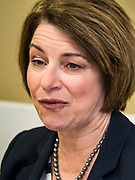 15 JULY 2019 - DES MOINES, IOWA: Senator AMY KLOBUCHAR (D-MN) speaks at a roundtable about senior citizen issues in Des Moines. Sen. Klobuchar hosted a roundtable on issues important to older Americans at a community center in Des Moines. Klobuchar is running to be the Democratic candidate for President in the 2020 election. Iowa hosts the first event of the Presidential election cycle. The Iowa Caucuses are on February 3, 2019.        PHOTO BY JACK KURTZ