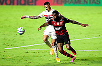 SAO PAULO, BRAZIL - FEBRUARY 25: Gerson of CR Flamengo competes for the ball with Luciano of Sao Paulo FC ,during the Brasileirao Serie A 2020 match between Sao Paulo FC and CR Flamengo at Morumbi Stadium on February 25, 2021 in Sao Paulo, Brazil. (Photo by MB Media/BPA)