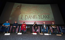 Pictured; Lewis Akers, Bill Scott, Sasha Gallagher, Jeane Fereeman, Paul Laverty and Mike Valance   <br /> <br /> The Ken Loach film 'I, Daniel Blake' was given a special screening in Edinburgh today in front of  anti-austerity campaigners. The event was arranged by William Black who was joined by the screenwriter, Paul Laverty, Minister for Social Security in Scotland Jeane Freeman, Lewis Akers, member of the Scottish Youth Parliament for Dunfermline, Mikle Valance, ACE and Action Against Poverty, Bill Scott, Inclusion Scotland with Sasha Gallagher afrom Disability History Scotland acting as co-ordinater of the Q&A. <br /> <br /> (c) Ger Harley | Edinburgh Elite media