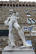 David by Michelangelo in front of Palazzo Vecchio Florence Italy