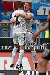Football: Germany, 2. Bundesliga, FC St. Pauli Hamburg - VfL Bochum, Hamburg - 17.05.2015,<br /> Philipp Ziereis (FC St. Pauli) und Marcel Halstenberg (FC St. Pauli) zum Tor zum 2:1<br /> <br /> © pixathlon<br /> <br /> +++ NED out !!! +++