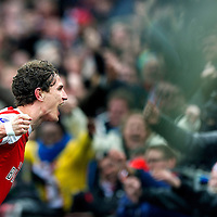The Netherlands, Rotterdam, 17-03-2013.<br /> Football, National, Competition, Eredivisie.<br /> Feyenoord vs FC Utrecht : 2-1.<br /> Daryl Janmaat, player of Feyenoord, celebrates his winning goal for Feyenoord with the fans.<br /> Photo: Klaas Jan van der Weij