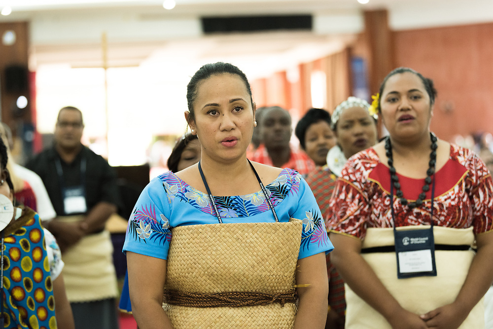 """10 March 2018, Arusha, Tanzania: Adi Mariana Waqa from the Pacific gave address at the plenary session on Mission from the Margins. From 8-13 March 2018, the World Council of Churches organizes the Conference on World Mission and Evangelism in Arusha, Tanzania. The conference is themed """"Moving in the Spirit: Called to Transforming Discipleship"""", and is part of a long tradition of similar conferences, organized every decade."""