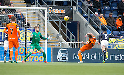 Falkirk's John Baird scoring their goal. half time : Falkirk 1 v 0 Dundee United, Scottish Championship game played 11/2/2017 at The Falkirk Stadium.