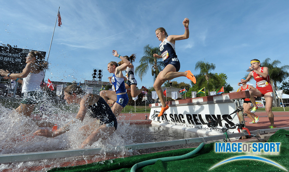 Apr 19, 2012; Walnut, CA, USA; General view of the water jump in a womens open steeplechase heat in the 54th Mt. San Antonio College Relays at Hilmer Lodge Stadium.