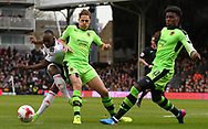 Sone Aluko of Fulham has his shot blocked by Kortney Hause of Wolverhampton Wanderers during the Sky Bet Championship match at Craven Cottage, London<br /> Picture by Richard Brooks/Focus Images Ltd 07947656233<br /> 18/03/2017