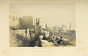Jerusalem Citadel entrance from The Holy Land : Syria, Idumea, Arabia, Egypt & Nubia by Roberts, David, (1796-1864) Engraved by Louis Haghe. Volume 1. Book Published in 1855 by D. Appleton & Co., 346 & 348 Broadway in New York.