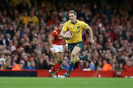 Dane Haylett-Petty of Australia runs in to score his try. Under Armour 2016 series international rugby, Wales v Australia at the Principality Stadium in Cardiff , South Wales on Saturday 5th November 2016. pic by Andrew Orchard, Andrew Orchard sports photography