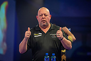 Mervyn King (England) reacts after his win during the William Hill World Darts Championship at Alexandra Palace, London, United Kingdom on 28 December 2020.