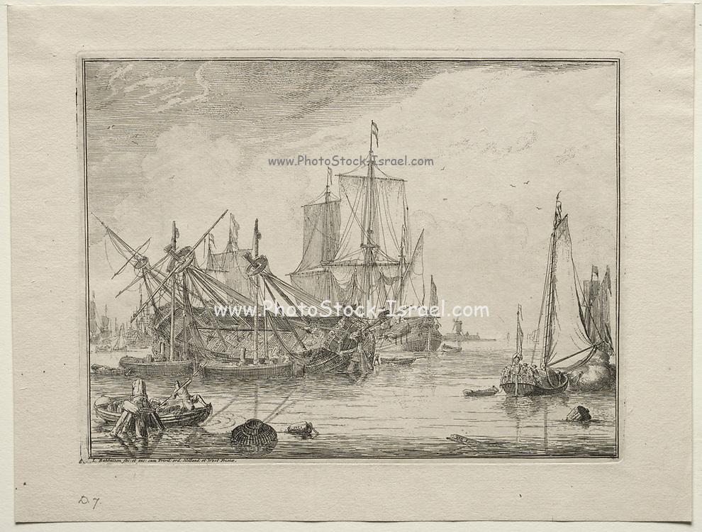 Ships Under Repair 1701 Ludolf Backhuysen (Dutch, 1631-1708), Etching