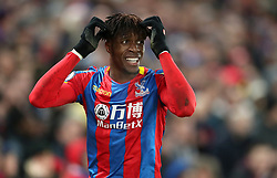 Crystal Palace's Wilfried Zaha rues a missed chance during the Premier League match at Selhurst Park, London, Thursday 28th December 2017