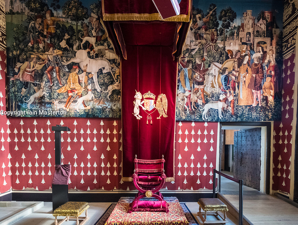 The Queen's Inner Hall inside Royal Palace at Stirling Castle in Stirling, Scotland, United Kingdom.