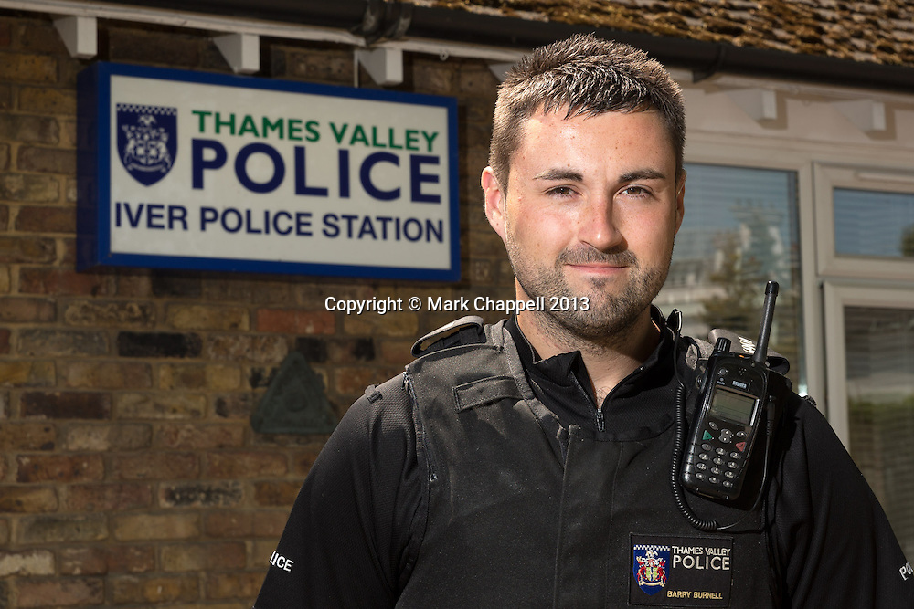 Portrait of PC Barry Burnell who has been named Thames Valley Police Community Police Officer of the Year for Buckinghamshire and overall winner in the 2013 Community Policing Awards, which are voted for by members of the public. Wednesday 05  June  2013.  Iver, UK.<br /> <br /> Photo Credit: Mark Chappell<br /> <br /> © Mark Chappell 2013. <br /> All rights reserved, see instructions.