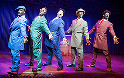 Five Guys Named Moe by Clarke Peters <br /> at the Marble Arch Theatre (Temporary), London, Great Britain <br /> 12th September 2017 <br /> <br /> <br /> Dex Lee as Know Moe <br /> <br /> Edward Baruwa as Nomax <br /> <br /> Horace Oliver as Big Moe <br /> <br /> Idriss Cargo as Little Moe<br /> <br /> Ian Carlyle as Four eyed Moe <br /> <br /> Emile Ruddock as Eat Moe  <br /> <br /> <br /> <br /> Photograph by Elliott Franks <br /> Image licensed to Elliott Franks Photography Services