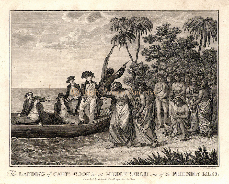 James Cook (1728-79) English explorer and navigator and hydrographer landing on the Friendly Islands (Kingdom of Tonga) in 1773. From 'Captain Cook's Original Voyages Round the World' (Woodbridge, Suffolk, c1815).  Engraving.