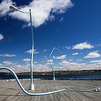 North America, Canada, Nova Scotia, Halifax. Drunken Light Poles public art.