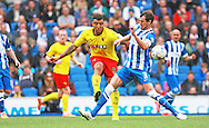 Watford Troy Deeney shoots goal during the Sky Bet Championship match between Brighton and Hove Albion and Watford at the American Express Community Stadium, Brighton and Hove, England on 25 April 2015. Photo by Phil Duncan.