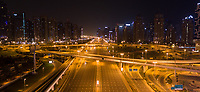 Panoramic aerial view of empty streets due to the coronavirus pandemic in Dubai, United Arab Emirates
