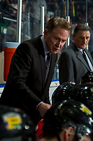 KELOWNA, BC - FEBRUARY 8: Portland Winterhawks' Head Coach and GM, Mike Johnston, stands on the bench during second period at the Kelowna Rockets at Prospera Place on February 8, 2020 in Kelowna, Canada. (Photo by Marissa Baecker/Shoot the Breeze)