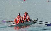 Lucerne, Switzerland. 1995 FISA WC III, Lake Rotsee, Lucerne,<br /> GBR M4-, Bow. Rupert OBHOLZER, Jonny SEARLE, Greg SEARLE and Tim FOSTER.<br /> [Mandatory Credit. Peter SPURRIER/Intersport Images]<br /> <br /> Image scanned from Colour Negative