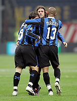 "L'esultanza di Hernan Crespo (Inter) dopo il gol dell'1-1 abbracciato da Douglas Sisenando Maicon (Inter), Scherrer Cabelino Andrade Maxwell<br /> Hernan Crespo (Inter) celebrates with Douglas Sisenando Maicon (Inter), Scherrer Cabelino Andrade Maxwell (Inter) after scoring goal<br /> Italian ""Serie A"" 2006-07<br /> 28 Feb 2007 (Match Day 26)<br /> Inter-Udinese (1-1)<br /> ""Giuseppe Meazza""-Stadium-Milano-Italy<br /> Photographer: Luca Pagliaricci INSIDE"