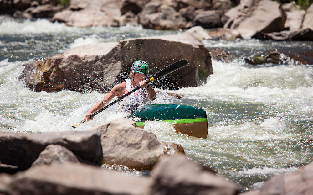 Downriver racers in the annual FibArk river festival negotiate Cottonwood Falls, between Cotapaxi and Coaldale on the Arkansas River.