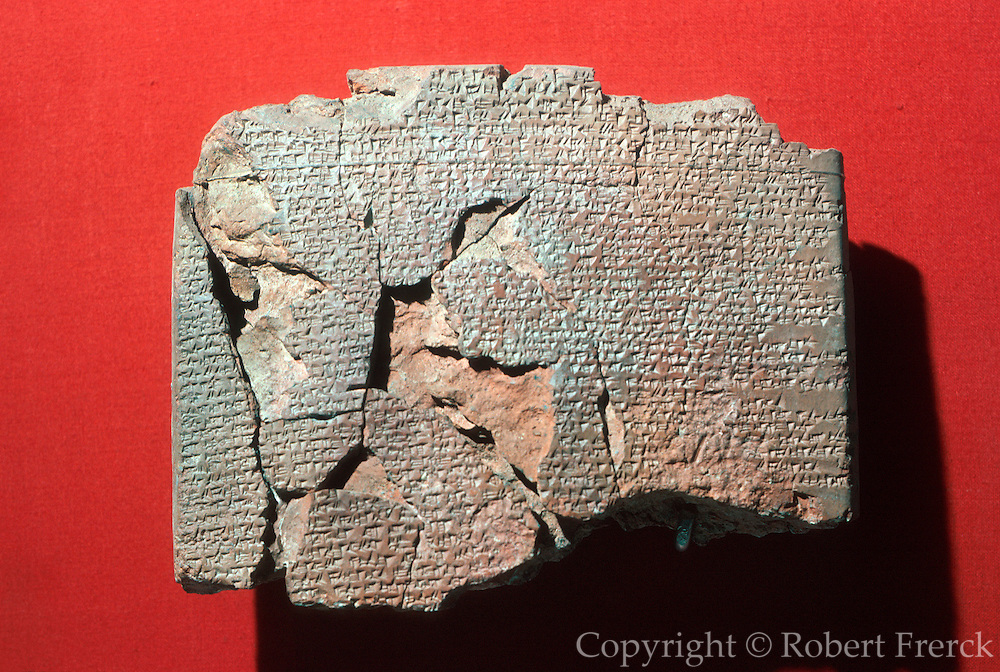 TURKEY, ISTANBUL Museum of the Ancient Orient; Akkadian stone tablet of the Kadesh Peace Treaty from 1269BC between Egypt and the Hittites,