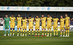 Sutton United's players before kick off during the Sky Bet League Two match at Borough Sports Ground, Sutton. Picture date: Saturday October 9, 2021.