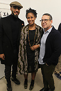 New York, NY-Jan. 11: (L-R) Producer/Recording Artist Swizz Beatz, Chef Leslie Parks and Gallerist jack Shanmain attend the Gordon Parks: I AM YOU Opening Reception presented by the Gordon Parks Foundation  held at the Jack Shanmain Gallery on January 11, 2018 in New York City.  (Photo by Terrence Jennings/terrencejennings.com)