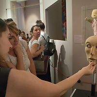 Visitor plays with a puppet on display at an interactive puppet exhibition in the Petofi Literature Museum in Budapest, Hungary on Sept. 6, 2018. ATTILA VOLGYI