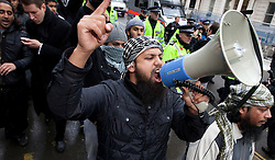 © under license to London News Pictures. 19/04/11 Scotland Yard says it has rejected an application by a radical Islamist group to protest outside Westminster Abbey on royal wedding day. The group, Muslims against Crusades, was behind a poppy-burning protest on Armistice Day.FILE PICTURE DATED 11/11/2010.11/11/2010. Muslims Against Crusaders protesters are led along Exhibition Road in Kenisngton, London, after their Armistice Day protest.