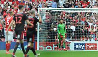 Football - 2018 / 2019 EFL Sky Bet League One Play-Off Final - Sunderland vs. Charlton<br /> <br /> Despair for Charlton goalkeeper, Dillon Phillips after letting the ball bounce over his foot from a bcd pass, for Sunderland's first half goal, at Wembley Stadium.<br /> <br /> COLORSPORT/ANDREW COWIE