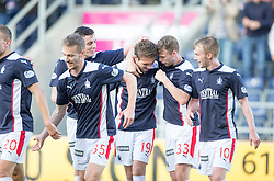 Falkirk's Luke Leahy celebrates after scoring their second goal.<br /> Falkirk 2 v 1 Alloa Athletic, Scottish Championship game played 4/10/2014 at The Falkirk Stadium.