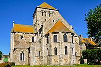 France, Manche (50), Cotentin, Lessay, Abbaye Sainte-Trinité de Lessay, abbaye bénédictine romane du XIe siècle // France, Normandy, Manche department, Cotentin, Lessay, Sainte-Trinité de Lessay Abbey