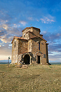 """Pictures and images of St Giorgi (St George) Church, Samtsevrisi, Georgia (country). A perfect example of a 7th century Byzantine """"Tree Cross"""" church  with a horseshoe apse laid out as in the Greek Cross style. .<br /> <br /> Visit our MEDIEVAL PHOTO COLLECTIONS for more   photos  to download or buy as prints https://funkystock.photoshelter.com/gallery-collection/Medieval-Middle-Ages-Historic-Places-Arcaeological-Sites-Pictures-Images-of/C0000B5ZA54_WD0s<br /> <br /> Visit our REPUBLIC of GEORGIA HISTORIC PLACES PHOTO COLLECTIONS for more photos to browse, download or buy as wall art prints https://funkystock.photoshelter.com/gallery-collection/Pictures-Images-of-Georgia-Country-Historic-Landmark-Places-Museum-Antiquities/C0000c1oD9eVkh9c"""