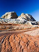 Low-angle view of the rock detail at White Pocket, Paria Plateau, Vermilion Cliffs National Monument, Arizona.