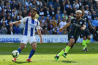 BRIGHTON, ENGLAND - MAY 12:  Sergio Aguero (10) of Manchester City shoots at goal during the Premier League match between Brighton & Hove Albion and Manchester City at American Express Community Stadium on May 12, 2019 in Brighton, United Kingdom. (MB Media)