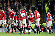 Jesse Lingard of Manchester United © celebrates with his teammates after scoring his teams 1st goal to make it 0-1.  Barclays Premier league match, Chelsea v Manchester Utd at Stamford Bridge in London on Sunday 7th February 2016.<br /> pic by John Patrick Fletcher, Andrew Orchard sports photography.