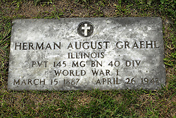 31 August 2017:   Veterans graves in Park Hill Cemetery in eastern McLean County.<br /> <br /> <br /> Herman August Graehl  Illinois Private 145 MG BN 40 DIV World War I March 15 1887  April 26 1942