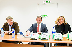 Drago Bahun, Enzo Smrekar, president of SZS and Petra Majdic during meeting of Executive Committee of Ski Association of Slovenia (SZS) on March 10, 2014 in SZS, Ljubljana, Slovenia. Photo by Vid Ponikvar / Sportida