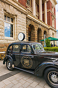 Classic car at the Old Government Building, Christchurch, Canterbury, South Island, New Zealand