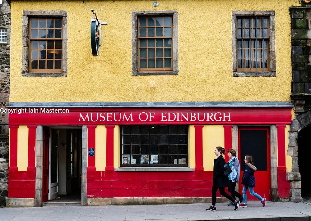 Exterior of Museum of Edinburgh on the Royal Mile in Edinburgh Old Town, Scotland, United Kingdom