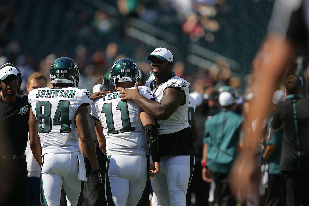 Tim Tebow, Fletcher Cox, 2015 Eagles Preseason - Philadelphia Eagles vs Indianapolis Colts at Lincoln Financial Field