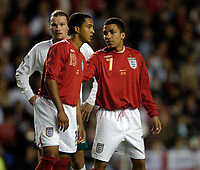 Photo: Leigh Quinnell.<br />England 'B' v Belarus. International Friendly. 25/05/2006.<br />England's Theo Walcott and Aaron Lennon.