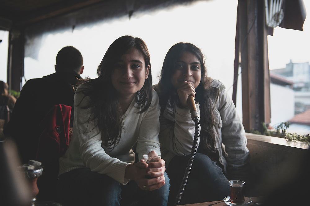 Turkish university students at an open-air cafe in Antakya (Hatay), Turkey.<br /> <br /> (January 2013)