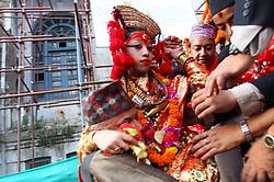 September 10, 2017 - Kathmandu, Nepal - Living Goddess Kumari is brought for chariot procession in celebration of last day of a week-long Indrajatra festival at Hanumandhoka Durbar Square in Kathmandu, Nepal. (Credit Image: © Sunil Sharma via ZUMA Wire)